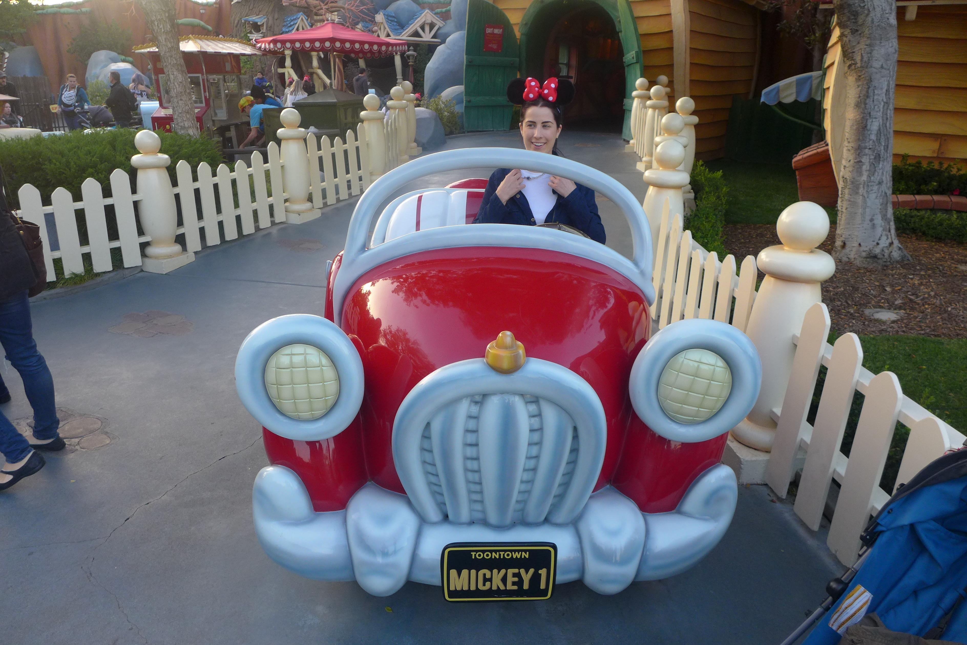 Michelle in Mickey car